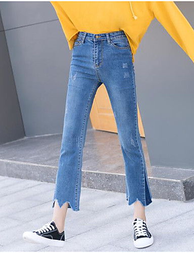 Damen Freizeit Jeans / Chinos Hose Solide