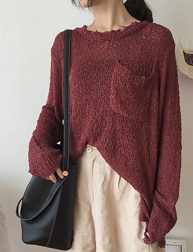 Damen Standard Pullover-Lässig/Alltäglich Solide Rundhalsausschnitt Langarm Acryl Dünn Mikro-elastisch