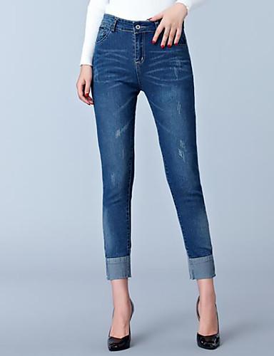 Damen Freizeit Übergrössen Hohe Hüfthöhe Jeans Hose Solide