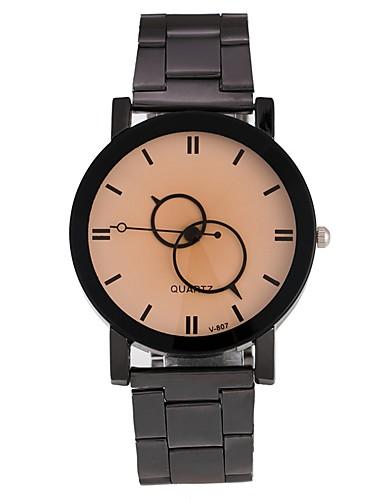 Herrn Damen Armbanduhr Modeuhr Chinesisch Quartz Legierung Band Schwarz