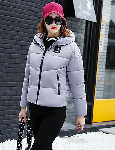 Damen Daunenjacke Mantel,Standard Freizeit Alltag Solide-Polyester Langarm