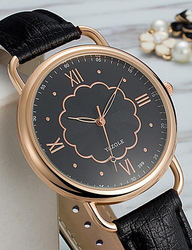 YAZOLE Damen Armbanduhren für den Alltag Modeuhr Chinesisch Quartz PU Band Blume Retro Elegant Uhr mit Wörtern Schwarz Weiß