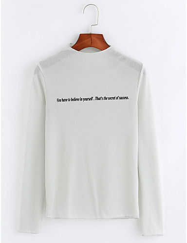 Damen Buchstabe Anspruchsvoll Lässig/Alltäglich Bluse,Rundhalsausschnitt Herbst Langarm Baumwolle Dünn