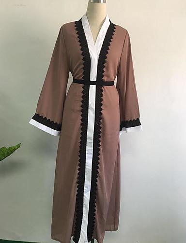 Damen Hülle Kleid-Lässig/Alltäglich Solide Rundhalsausschnitt Maxi Langarm Polyester Winter Mittlere Taillenlinie Mikro-elastisch