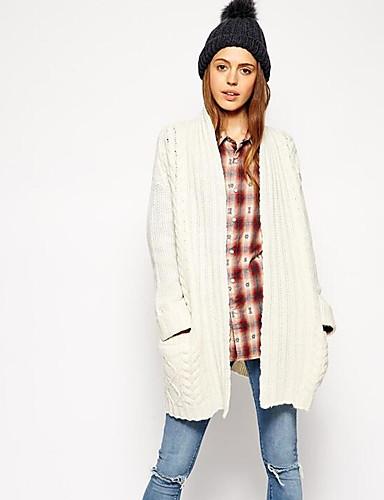 Damen Standard Strickjacke-Lässig/Alltäglich Solide V-Ausschnitt Langarm Acryl Herbst Winter Mittel Mikro-elastisch