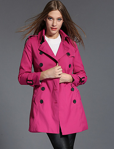 Damen Solide Einfach Retro Lässig/Alltäglich Mantel,Hemdkragen Herbst Winter Langarm Standard Andere