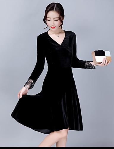 Damen Hülle Kleid-Ausgehen Solide V-Ausschnitt Midi Halbe Ärmel Kunstseide Hohe Taillenlinie Mikro-elastisch Mittel