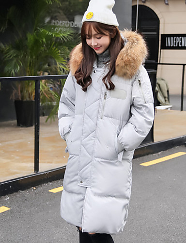 Damen Gefüttert Mantel Einfach Lässig/Alltäglich Ausgehen Solide-Polyester Langarm