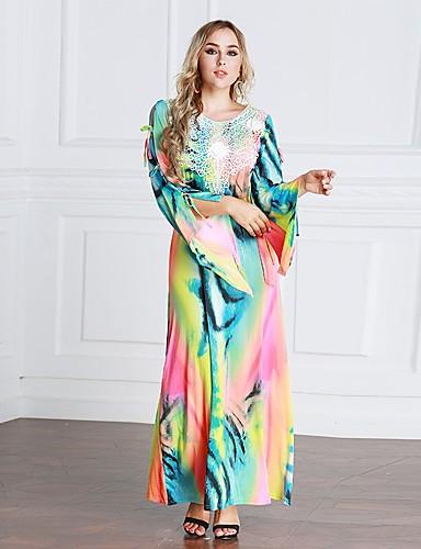 Damen Kaftan Kleid Einfarbig Maxi