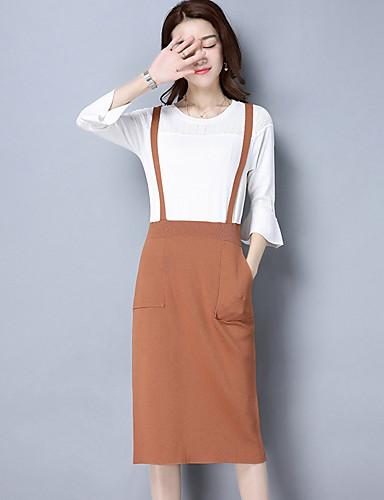 Damen Hülle Kleid-Ausgehen Solide Patchwork Rundhalsausschnitt Midi 3/4 Ärmel Baumwolle Hohe Taillenlinie Mikro-elastisch Mittel