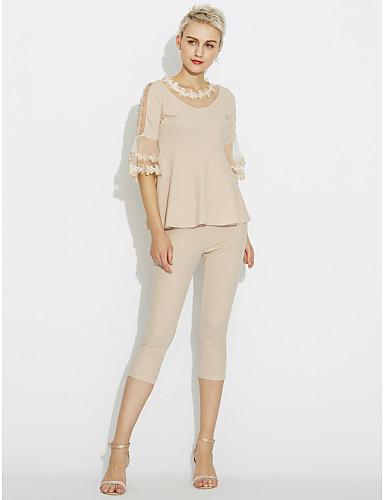 Damen Solide Einfach Lässig/Alltäglich Bluse Hose Anzüge,Rundhalsausschnitt Frühling Andere
