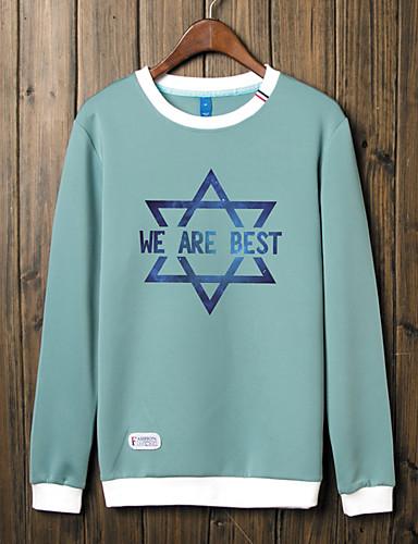 Męskie Rozmiar plus Aktywny Moda miejska Boho Długi rękaw Bluzy z kapturem i bluzy - Jendolity kolor, Nadruk Okrągły dekolt