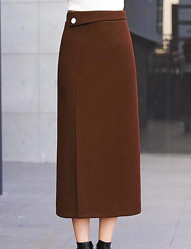 billige Skjørt-Dame Grunnleggende / Chic & Moderne الالتفاف Skjørt - Ut på byen Ensfarget Vinter Svart Oransje Brun S M L