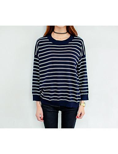 Damen Standard Pullover-Lässig/Alltäglich Gestreift Einfarbig Rundhalsausschnitt Langarm Baumwolle Acryl Dünn Mikro-elastisch