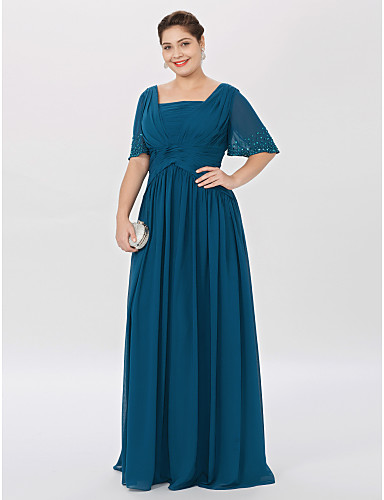 Plus Size A-Line Princess Square Neck Floor Length Chiffon Mother of the Bride Dress with Beading Pleats by LAN TING BRIDE®