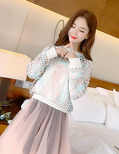 Damen Standard Pullover-Lässig/Alltäglich Solide Rundhalsausschnitt Langarm Acryl Mittel Mikro-elastisch