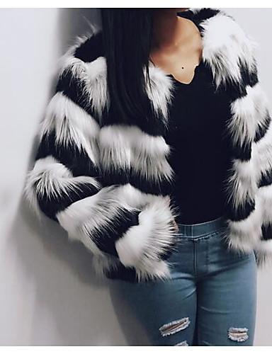 Damen Einfarbig Einfach Ausgehen Lässig/Alltäglich Pelzmantel,Rundhalsausschnitt Winter Langarm Standard Andere