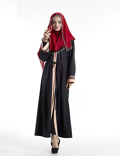 Damskie Impreza Boho Abaya Sukienka - Kolorowy blok, Nadruk W serek Maxi