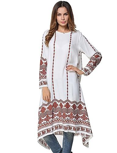 Damen Tunika Kleid-Alltag Solide Blumen Rundhalsausschnitt Midi Langärmelige Polyester Alle Jahreszeiten Mittlere Hüfthöhe Mikro-elastisch
