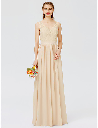 aa863351ef02ae Sheath   Column V Neck Floor Length Chiffon Sheer Lace Bridesmaid Dress  with Appliques Sash   Ribbon Pleats by LAN TING BRIDE®
