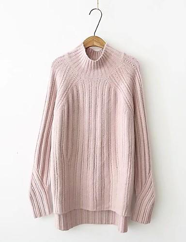 Damen Standard Pullover-Ausgehen Lässig/Alltäglich Solide Rollkragen Langarm Andere Dünn Mikro-elastisch