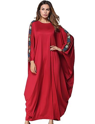 Damen Swing Kleid-Lässig/Alltäglich Solide Rundhalsausschnitt Maxi Langärmelige Polyester Alle Jahreszeiten Mittlere Hüfthöhe Unelastisch