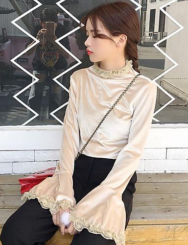 Damen Solide Anspruchsvoll Ausgehen T-shirt,Rundhalsausschnitt Langarm Polyester Cotton Chambray