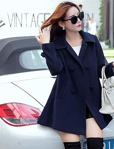 Damen-Solide Einfach Freizeit Street Schick Mantel,Hemdkragen