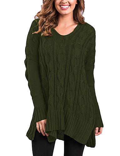 Damen Lang Pullover-Ausgehen Lässig/Alltäglich Einfach Solide V-Ausschnitt Langarm Polyester Mittel Mikro-elastisch