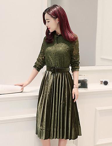 Damen Hülle Kleid-Lässig/Alltäglich Solide Rundhalsausschnitt Midi Langärmelige Kunstseide Winter Herbst Hohe Taillenlinie Mikro-elastisch