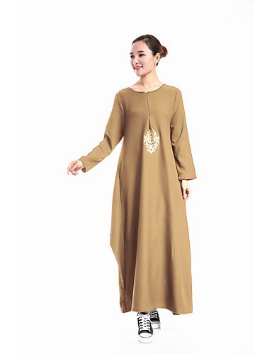 Damen Kaftan Kleid-Lässig/Alltäglich Solide Rundhalsausschnitt Maxi Langarm Polyester Frühling/Herbst Mittlere Hüfthöhe Mikro-elastisch
