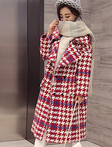 Damen Geometrisch Street Schick Alltag Mantel Winter Herbst Langarm Lang Polyester