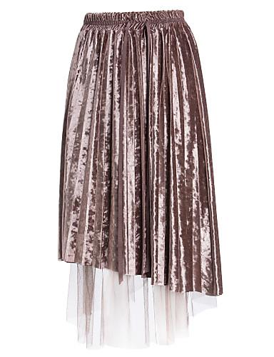 Damskie Bawełna Swing Spódnice Solidne kolory Siateczka