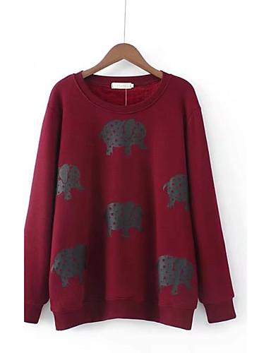 Damen Standard Pullover-Ausgehen Lässig/Alltäglich Solide Druck Rundhalsausschnitt Langarm Wolle Baumwolle Andere Mittel Dick