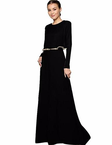 Damen Abaya Kleid-Lässig/Alltäglich Solide Rundhalsausschnitt Maxi Langarm Polyester Winter Herbst Mittlere Hüfthöhe Mikro-elastisch