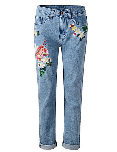 Damen Mikro-elastisch Jeans Hose Solide
