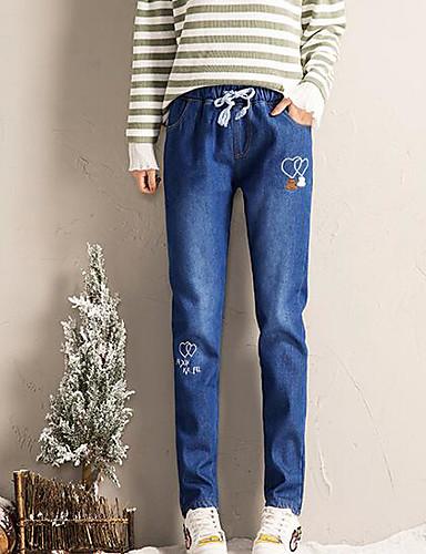 Damen Freizeit Mikro-elastisch Jeans Hose Solide