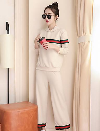 Damen Anzüge Pyjamas,Gestreift Baumwolle Polyester Dick Schwarz Beige