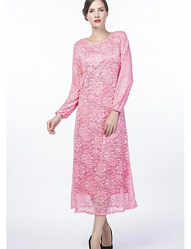 Damen Hülle Kleid-Ausgehen Solide Rundhalsausschnitt Maxi Langarm 100% Polyester Herbst Mittlere Hüfthöhe Mikro-elastisch Mittel