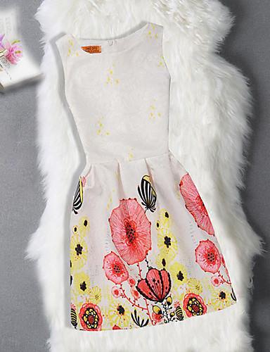 Sukienka Bawełna Poliester Dziewczyny Urodziny Wyjściowe Kwiaty Żakard Motyl Bez rękawów Urocza Na co dzień Księżniczka White