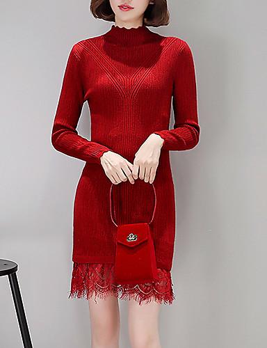 Damen Hülle Kleid-Lässig/Alltäglich Arbeit Einfach Solide Rollkragen Übers Knie Langarm Polyester Mittlere Hüfthöhe Dehnbar Mittel