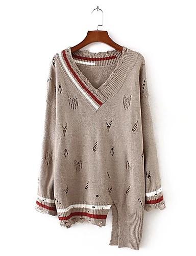 Damen Standard Pullover-Ausgehen Lässig/Alltäglich Solide Gestreift V-Ausschnitt Langarm Baumwolle Andere Dünn Mittel Mikro-elastisch