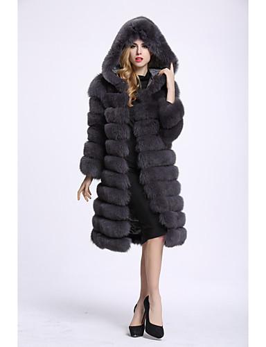 Damen Solide Einfach Freizeit Ausgehen Pelzmantel,V-Ausschnitt Winter Langarm Lang Kunst-Pelz