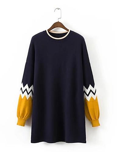 Damen Lang Pullover-Ausgehen Lässig/Alltäglich Solide Gestreift Einfarbig Rundhalsausschnitt Langarm Baumwolle Andere Dünn Mittel