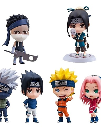 abordables Cosplay de Animes-Las figuras de acción del anime Inspirado por Naruto Sasuke Uchiha CLORURO DE POLIVINILO CM Juegos de construcción muñeca de juguete