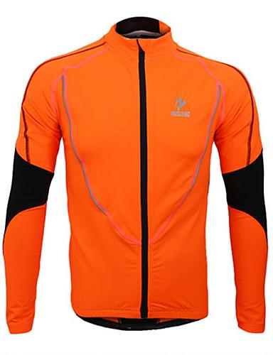 cheap Cycling Clothing-Arsuxeo Men's Cycling Jersey Cycling Jacket Bike Jersey Top Thermal / Warm Fleece Lining Breathable Sports Polyester Fleece Winter Orange / Green / Blue Mountain Bike MTB Road Bike Cycling Clothing