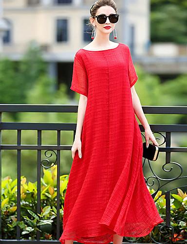 Damen A-Linie Kleid-Ausgehen Lässig/Alltäglich Solide Rundhalsausschnitt Maxi Kurze Ärmel Polyester Sommer Hohe Taillenlinie