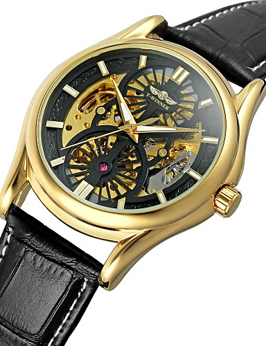 WINNER Męskie Nakręcanie automatyczne Zegarek na nadgarstek Wodoszczelny Hollow Grawerowanie Skóra naturalna Pasmo Vintage Na co dzień Do