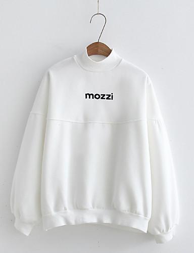 Damen Pullover Lässig/Alltäglich Einfach Buchstabe Fleece-Futter Mikro-elastisch Baumwolle