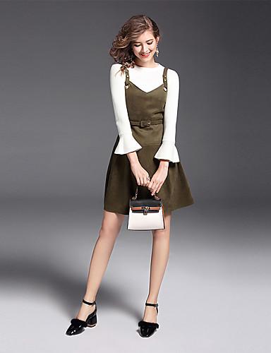 Damen Solide Anspruchsvoll Alltag Arbeit Pullover Kleid Anzüge Langarm Nylon Elastan Terylen